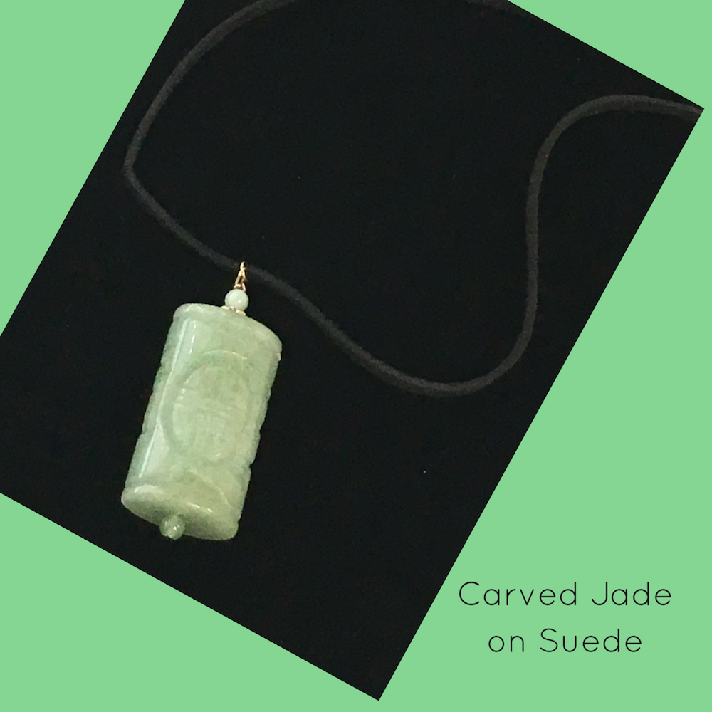 Carved Jade on Suede