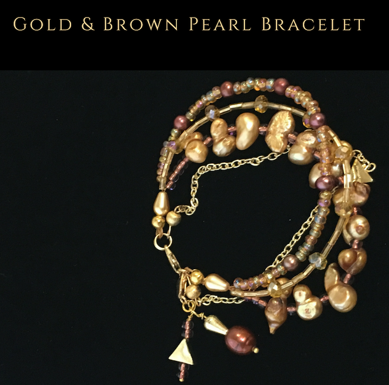 Gold & Brown Pearl Bracelet